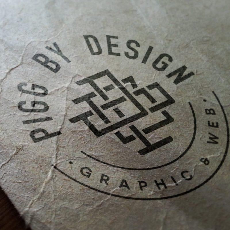 distressed card print logo