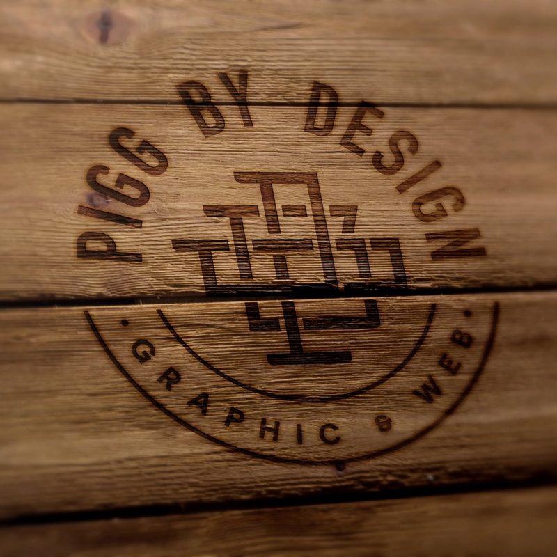 logo burned on wood