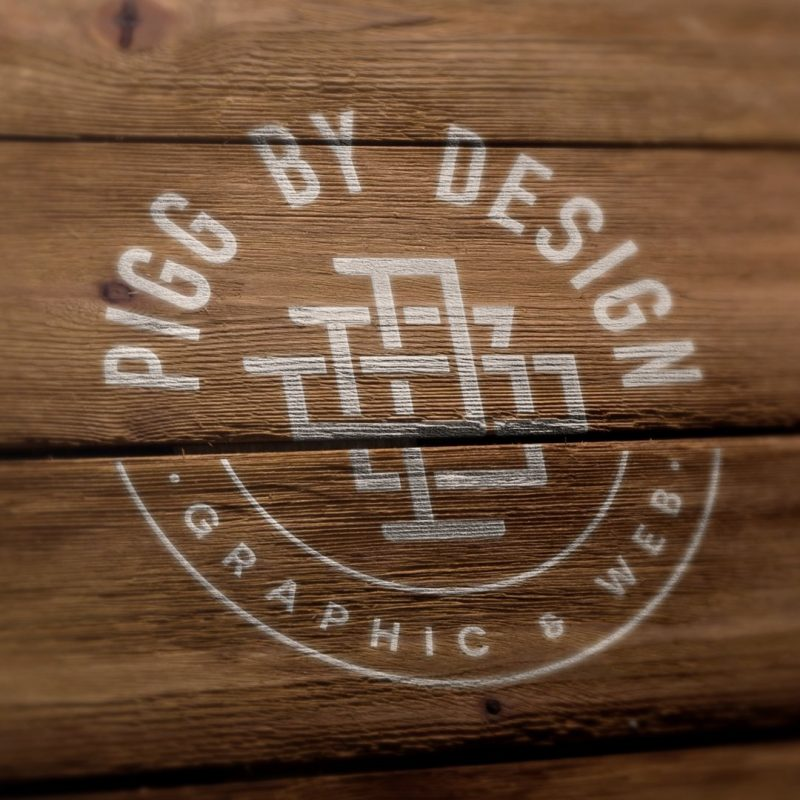 logo on wooden floor