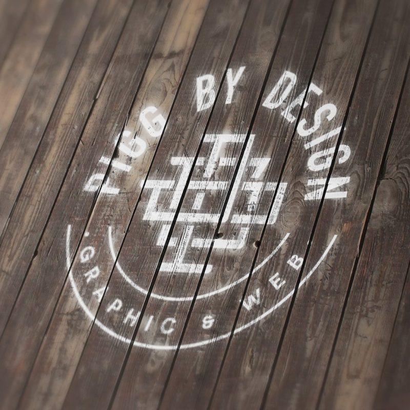logo on wooden floor